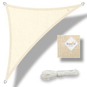 hanSe® Marken Sonnensegel HDPE Dreieck 90° 2,5x2,5x3,5m Creme UV-Schutz Sonnenschutz Schattenspender