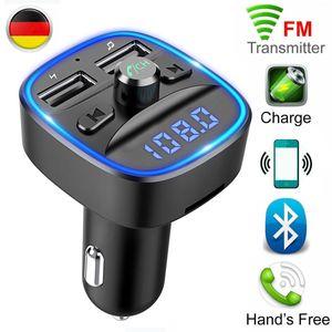 Bluetooth FM Transmitter Auto Radio Adapter, Auto Ladegerät mit 2 USB Anschlüsse und Freisprecheinrichtung, [mit Blauem Umgebungslicht], Unterstützt TF Karte & USB-Stick