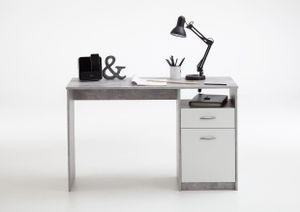 FMD Möbel JACKSON Schreibtisch - Beton Light Atelier/weiß - Maße: 123 cm x 76,5 cm x 50 cm; 3004-001