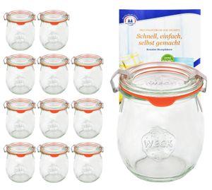 12er Set Weck Gläser 220 ml Tulpengläser mit 12 Glasdeckeln, 12 Einkochringen und 24 Klammern