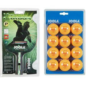 JOOLA Tischtennis Set | Mega Carbon Tischtennisschläger + 12 x TT Bälle orange