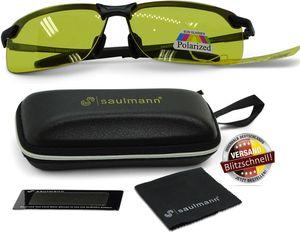 Saulmann® SM6781 - Polarisierte Nachtsichtbrille, UV-Schutz, Blendschutz Nachtfahrbrille zum Autofahren, Ultraleichtes Metal-Gestell ⒼⒺⓁⒷ