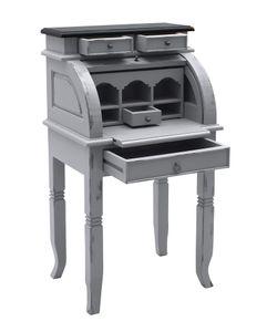 SIT Möbel Sekretär aus Akazie-Holz taupe | mit Rollladen | 4 Schubladen, 5 Fächer | Deckplatte dunkelbraun | Griffe messing-farben | B 55 x T 41 x H 100 cm | 09753-97 | Serie SPA