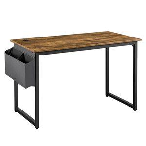 Yaheetech Retro Schreibtisch, Computertisch mit Metallrahmen, PC-Tisch für Home-Office, Arbeitstisch im rustikalem Holzoptik, stabil, 120 x 60 x 75 cm