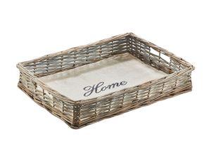 Tablett aus Weide grau Holzboden mit naturfarbenen Textil ausgelegt