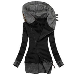 Damenmode Solid Jacket Zipper Pocket Sweatshirt Langarmmantel Größe:M,Farbe:Schwarz