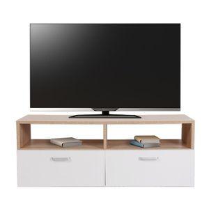 Fernsehschrank Braun Weiß TV Lowboard Fernsehtisch Regal Sideboard Hifi Regal