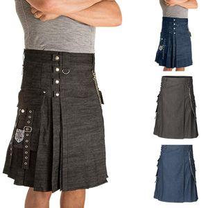 Herren Vintage Kilt Schottland Gothic Mode Kendo Jeansrock Schottische Kleidung Größe:XL,Farbe:Schwarz