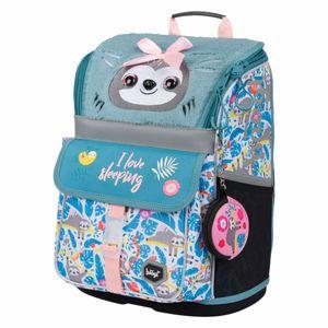 Baagl Schulranzen Mädchen 1. Klasse - Ergonomische Schultasche für Kinder - Schulrucksack mit Brustgurt - Grundschule Ranzen (Faultier)