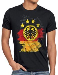 style3 Deutschland Wappen EM 2021 2022 Herren T-Shirt Fußball Europameisterschaft Trikot Germany Bundes-Adler WM, Größe:4XL, Farbe:Schwarz