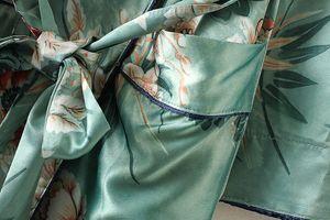 FEITONG Frauen Böhmen Blumen Quaste Lange Kimono übergroße Schal Tops Größe:M,Farbe:Grün
