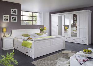 Schlafzimmer komplett Schrank 5türig Bett Landhausstil Kiefer massiv, Farbe:weiß / kolonialfarbig