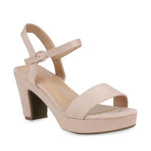 Mytrendshoe Damen Plateau Sandaletten High Heels Schuhe 821335, Farbe: Nude, Größe: 38