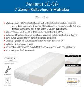 25cm  MAMMUT RG35  ( 100x200cm )   7-Zonen  KALTSCHAUM MATRATZE H2+H3