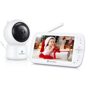 HeimVision Soothe 3 Video-Babyphone, HD 1080P, Nachtsicht, 5 Zoll Farbdisplay, 110 ° Weitwinkel, 2X Zoom, Temperatursensor, Gegensprechfunktion, Einschlaflieder, Reichweite bis zu 300m, weiß