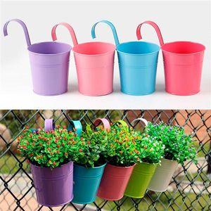 Yaheetech 10er Hängetöpfe Set Pflanztopf Blumentopf Übertopf Pflanzenhalter mit Haken Balkon Wanddekoration