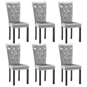 vidaXL Esszimmerstühle 6 Stk. Samt Silbern