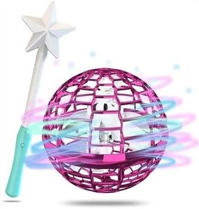 Flynova Pro Flying Ball Bumerang Spinner Dynamische RGB-Lichter mit Magic Stick Control (Pink Ball + Magic Stick)
