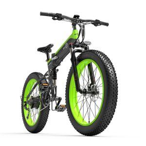 Bezior X1000 26 Zoll E-Bike Mountainbike E-Trekkingrad Elektrofahrrad Fatbike Elektrisches Fahrrad Elektrofahrräder Motor Citybike Elektro City Fahrrad Elektrofahrrad mit LED Leucht Scheinwerfer 40km/h 1000W 48V - Schwarz & Grün