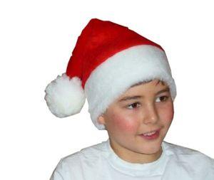 Mütze Weihnachtsmann Nikolausmütze für Kinder aus Plüsch mit Pompon