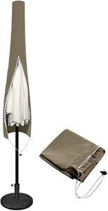 NAIZY Wasserdicht Schutzhülle mit Reißverschluss und Zugkordel Abdeckhauben aus 100% Polyester für Ø300cm Sonnenschirm(Dunkelbraun, 170x18/30cm)