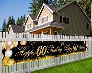 Extra Lange Banner für 60. Geburtstag Dekoration Schwarz Gold, 60. Geburtstag Stoff Zeichen Poster Photo Booth Hintergrund für 60 Geburtstag Deko auf Garten Tabelle Mauer, 180*92