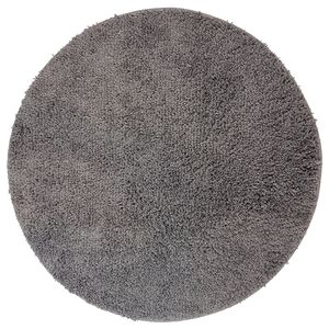 DILUMA | Badematte Rund Ø 60 cm Grau | Badteppich | Flauschiger Hochflor, Weich, Rutschfest, Saugstark