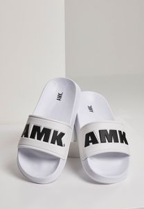 AMK Slides Schlappen Badeschuhe Badelatschen Sandale Schuhe AMK001, color:white/black, size:46