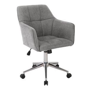 SVITA JAKE Schreibtischstuhl mit Armlehnen Höhenverstellbar Drehstuhl mit Rollen Stoff-Bezug Hellgrau