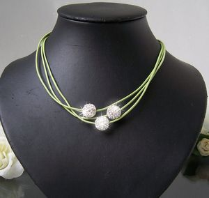 K1027# Kette Shamballa  Leder hellgrün Silber Strass Neu