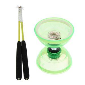 Chinesisch Triple Bearing Diabolo LED Leuchten Jonglieren Diabolos Spielzeug Grün 13cm
