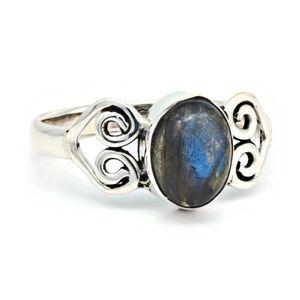 Labradorit Ring 925 Silber Sterlingsilber Damenring (MRI 186-05),  Ringgröße:62 mm / Ø 19.7 mm