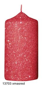 Glamour Glitter Stumpenkerzen rot, 120 x 60 mm, 4er Set