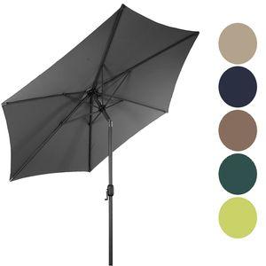 Alu Sonnenschirm Ø 2,5m knickbar mit Kurbel, Farben:Grau