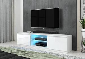 FURNIX Lowboard TV-Schrank Arenal 120 weiß /  weiß Glanz mit LED