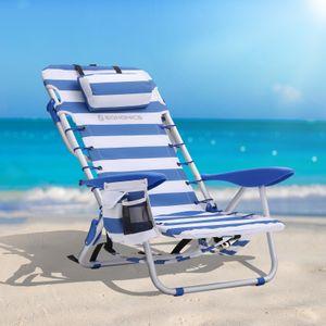 SONGMICS Campingstuhl 63 x 68 x 75 cm faltbar und verstellbar mit Kopfkissen Strandstuhl Alu-und tragbarer Klappstuhl Outdoor-Stuhl blau-weiß gestreift GCB62BU