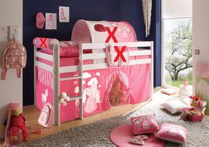 Hochbett Kiefer massiv weiß inkl. Vorhang EN 747-1 + 747-2 Kinderbett Spielbett Kinderbett Massivbett Kinderzimmer Stockbett