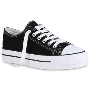 Mytrendshoe Damen Plateau Sneaker Canvas Turnschuhe Schnürer Plateauschuhe 825786, Farbe: Schwarz, Größe: 38