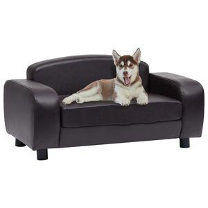 Hundesofa Braun 80x50x40 cm Kunstleder| Hundebett ,Hundeliege ,Hundekissen ,Hundekorb
