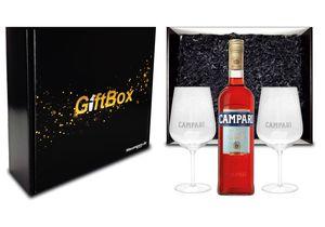 Campari Geschenkset - Campari 0,7L (25% Vol) + 2x Gläser + Giftbox - [Enthält Sulfite]