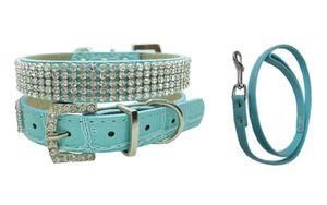 Hunde Halsband  Strass Hundehalsband Tanja mit passender Leine türkis Gr. S