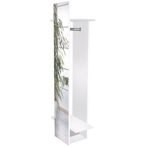 Beli Spiegelregal Spiegelschrank Garderobe Kleiderstange Ablage weiß glanz