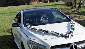 Autoschmuck Autogirlande Autodekoration Hochzeit Brautauto lila weiß AU0029 LANG