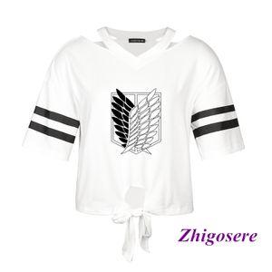 Attack On Titan Schulterfreie Streifen Für Frauen T-Shirt - Farbe: Weiß - Größe: L