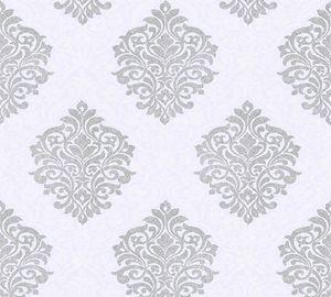 Architects Paper Vliestapete Alpha Ökotapete grau metallic weiß 10,05 m x 0,53 m 324802 32480-2
