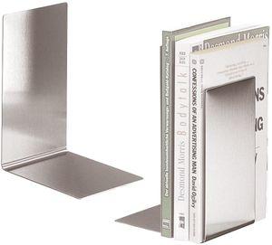 Buchstützen aus Edelstahl   BOOKBOYS   2er-Set   Ofform Design   Nr.2622