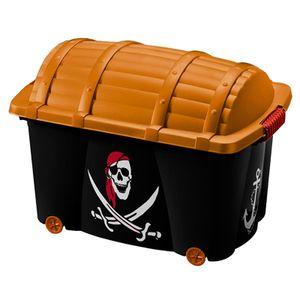 Aufbewahrungsbox Spielzeugkiste   mit Rollen   Vol. 50L   mit Deckel   ''Pirat'' und 'Fee' Rollenbox Schatztruhe Kiste, Muster / Farbe:Pirat