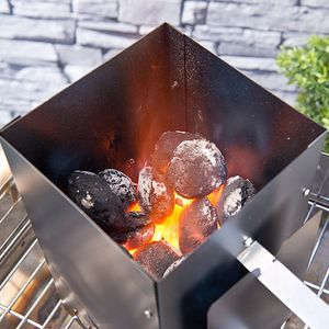 Anzündkamin Kohlestarter eckig Grillanzünder Holzkohleanzünder Holz Kohle #605