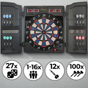 Physionics® Elektronische Dartscheibe - 27 Spiele, 159 Spielvarianten, inkl. 12 Dartpfeile, 100 Ersatz-Pfeilspitzen und Netzteil, 16 Spieler - LED Anzeige Dartboard, Dartautomat, Dartspiel, Darts