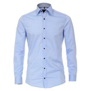 Größe 39 Venti Hemd Weiss mit Besatz Langarm Uninah Body Fit Extra Schmal Geschnitten Kentkragen 100% Baumwolle Bügelleicht